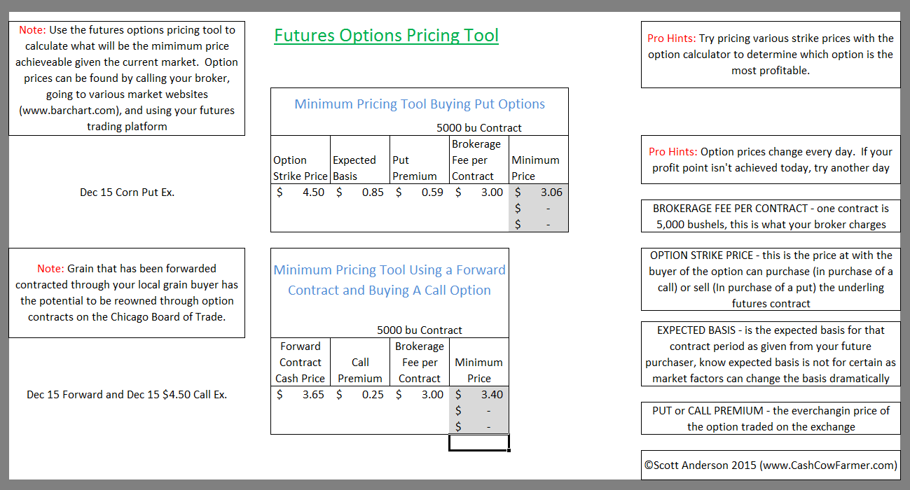 futures options pricing tool for grain markets